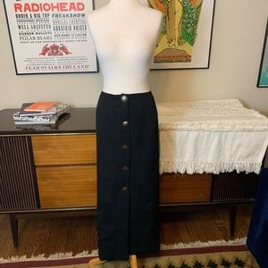 Vintage GERARD Southwest Silver Button Maxi Skirt